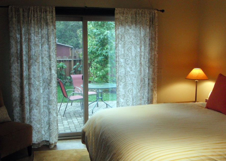 Mendocino Vacation Rental Red Barn Retreat Bedroom to Garden View